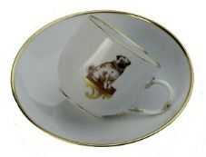 Meissen Porcelain Dog Figurine - Pug on Cup and Saucer Limited Edition ll